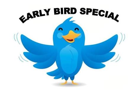 A cartoon image of a bird coloured blue with the words early bird special in an arc above the image