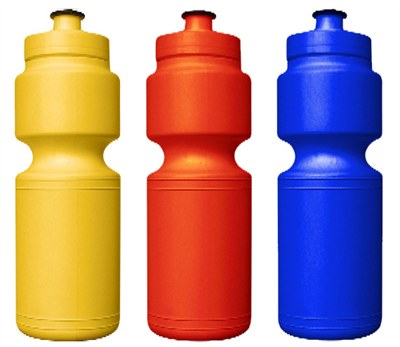 three water bottles Yellow, Orange, and Blue